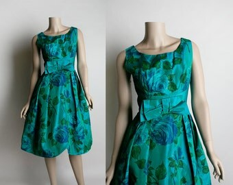 Vintage 1950s Rose Party Dress - Emerald and Aquamarine Teal Taffeta Shimmery Cocktail Party Prom Dress - Small