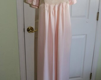 Vintage 1940's Pink Rayon and Lace Iris Nightgown by Sylvia Pedlar