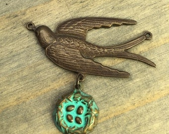 Bird and Nest Pendant - Hand Antiqued - Aged Teal Patina Nest - Bird Charm - Spring Charms - Connector Bird - Patina Queen