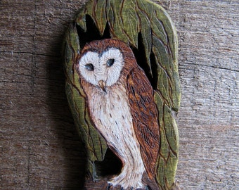 Barn Owl Tyto alba Fine Art Holly Miniature Hand Carved Pendant - Pin - Brooch by Tanja Sova