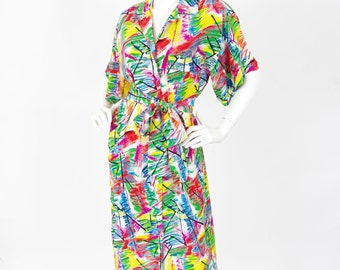 Albert Nipon Boutique 1980's Vintage Abstract Color Splatter Silk Shirt Dress Sz L