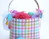 Easter Basket Bucket girls spring plaid Sample Sale