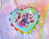 Heart brooch, Lisa Frank fairy kei rosette 80's party lolita accessories Panda Painter pin