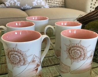 Fitz and Floyd Set of 5 Conquille Pattern Mugs Peach Shells Conch Summer Nautical Theme Ocean Beach Theme White Background TYCAALAK