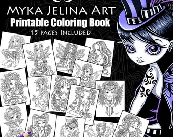 Set 7 - Printable Coloring Book - 15 Pages -  Myka Jelina Art - Fairy Coloring Book - Line Work Coloring Pages - Digital Download