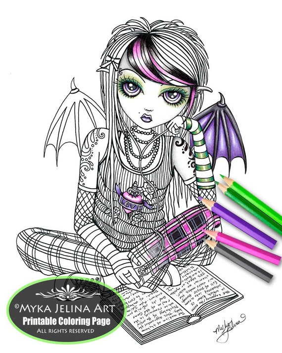 myka jelina coloring pages ally fairy digital download coloring page myka jelina art