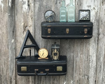 Vintage 1950's Black Faux Gator OLYMPIC Suitcase Upcycled Repurposed into a Pair of Wall Shelves