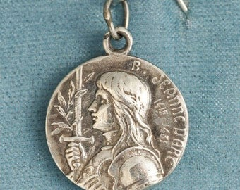 Joan of Arc, the Maid of Orleans, Small Sterling Silver Pendant Medallion Charm