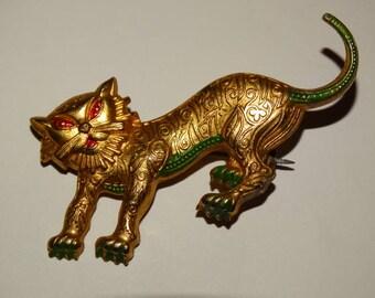 Vintage Cat Brooch, Pin, Golden Cat, Made in Spain, Feline, Golden Cat, Kitten, Meow, Kitty Kat, Damascene Cat Brooch, Mid Century
