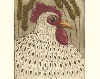 etching, Hen, chicken, red, sepia, yellow, wheat axe, brown, rustic decor, printmaking, home interior, farm animal, country decor, spring