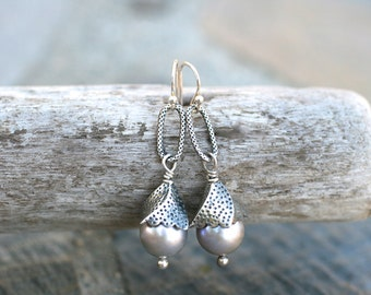 Light Lavender Freshwater Pearl Sterling Silver Earrings, Silver and Pearl Wire Wrapped Earrings, June Birthstone, Birthstone Earrings