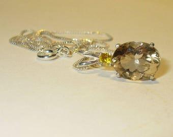 Scapolite & Sphalerite Pendant Necklace  - Genuine Natural Gemstones in Solid Sterling