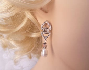 Art Deco Bridal Earrings with Swarovski Crystal and Pearl Drops for Vintage Glamour Wedding or Blush Rose Victorian Prom
