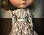 Blythe Dress, Victorian Bunny Stripes, light pink and grey forest print with long mutton sleeves