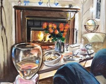 Wall Art -  Original Painting - Wine Art - Fireplace Art - Hygge - Leah Reynolds