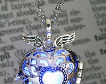 Pendant - Winged Heart Locket with Blue glowing Orb- Lovely Valentine Gift for Her - LED jewelry
