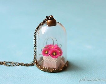 Gerbera Daisies Flower Terrarium Glass Necklace - Flower Jewelry