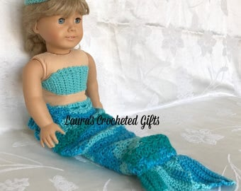 Doll Costume, Mermaid Princess Costume, Handmade Crochet Doll Clothes, Blues and Greens Mermaid Costume for 18 inch Doll, Doll Mermaid Tail