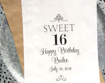 Sweet 16 Favor Bags | Sweet 16 Birthday | Sweet 16 Party Favors | Teen Birthday Favors | Sweet 16 Paper Bag | Sweet 16 Candy Bags |