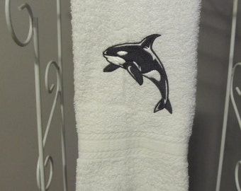 Embroidered Hand Towel with Black Orca Whale