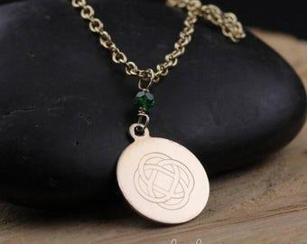 Engraved Celtic Knot Necklace 14kt Gold-filled with Emerald Gemstone