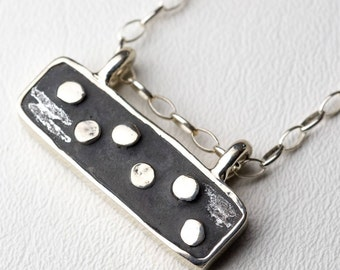 Silver Concrete Necklace Sterling Silver Boho Chic Bohemian Dot Industrial Pendant