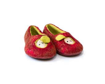 Apple Felted wool slippers Red, green, white Women house shoes Gift for her Christmas decoration