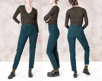 HIGH WAIST GAP jeans mom vintage Colorful green Skinny 90s denim pants / Size 4 / 26 27 inch Waist women