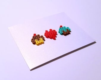 Love You More Than Cupcakes - Perler Fuse Bead Greeting Card - Love Note - Birthday Wishes - Heart - Cake - Food - Foodie - Cute