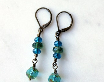 Blue and Green Dangle Earrings / Sea Blue Aqua Blue Olive Green / Gift for Her Under 25 / Bohemian Earrings for the Weekend / Casual Jewelry
