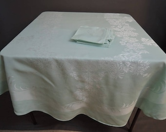 Vintage Mint Damask Oval Tablecloth & 12 Napkins, Blue Green 56 x 90 inches Mums