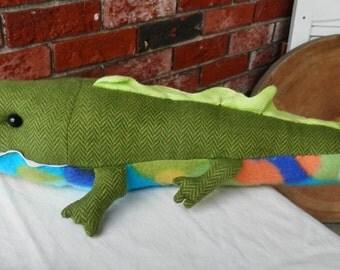 stuffed animal, kids, children, toy, whimsical, one of a kind, animal, crocodile