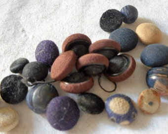 Lot of 20+ VINTAGE Tiny Fabric Covered BUTTONS 5F