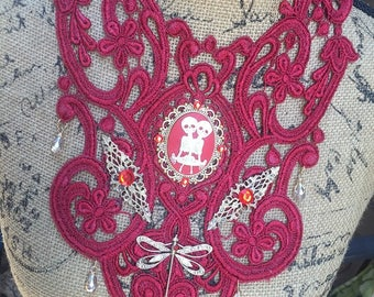 Bib Necklace Red Lace Steampunk Fantasy Goth Victorian Renaissance Twins Cameo Dragonfly Filigree