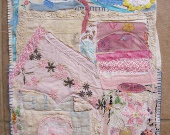 ROSY SUNSET & bLUE SKY-  Cottage Garden Flowers - Folk Art Fabric Collage - Vintage Materials -  myBonny Random Scraps