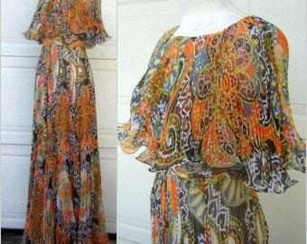 """MISS ELLIETTE Vintage 60s Psychedelic Sheer Ruffle Pleated Maxi Party Dress XS & Fabulous 300"""" Full Sweep"""