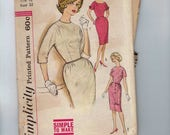 1960s Vintage Sewing Pattern Simplicity 4022 Misses Sheath Dress with Trim Variations Wiggle VLV Fitted Slim Size 12 Bust 32  60s  99