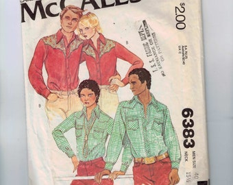 1970s Vintage Sewing Pattern McCalls 6383 Mens Western Button Down Shirt Size 40 Neck 15 Half 1978 70s