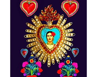 Frida Kahlo Milagros Tin Hearts Art Print Boho Instant Digital Download Small t Poster Modern Home Deco Purple Aqua Pink Best Selling Items