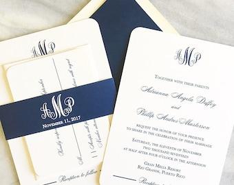 Navy Wedding Invite - Timeless Invitation  - Sample
