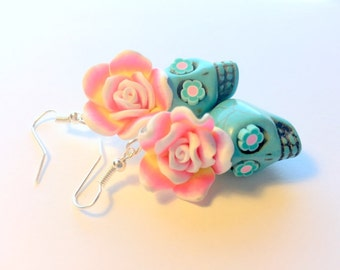 Sugar Skull Earrings Large Pink and Turquoise Day of the Dead Roses and Sugar Skulls