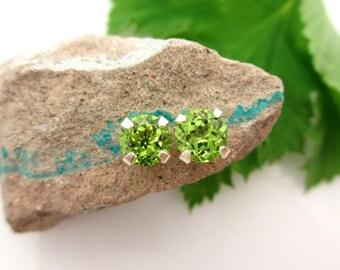 Peridot Studs - Genuine Peridot Stud Earrings in Real 14k Gold, Sterling Silver, or Platinum - 3mm, 4mm, 6mm, 7mm