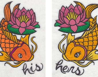 Beautiful HIS or HERS Koi Fish Embroidered Terrycloth Hand Towel Choice of towel color FREE Shipping