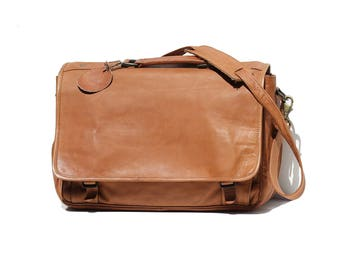 Soft Leather Expendable Messenger Briefcase Bag