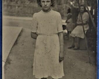 Postcard Girl in Park White Dress Black Hat 1940s RPPC