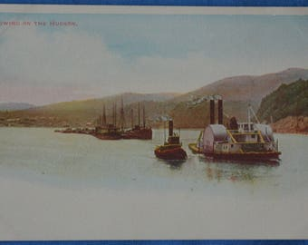 Towing On Hudson River New York Steam Ship Tow Boat UDB Antique Postcard Unused