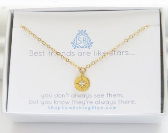 Best Friend Gift • Starburst Charm • Compass Rose Necklace • BFF Gift • Long Distance Friends • Sparkling Star Charm • Friendship Necklace
