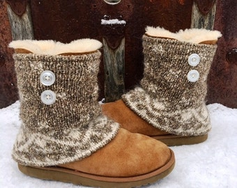 Fair Isle Boot Sweaters ~ Thick Wool, Silk, & Mohair Blend ~ Perfect for your UGGs. Ready to Ship to You