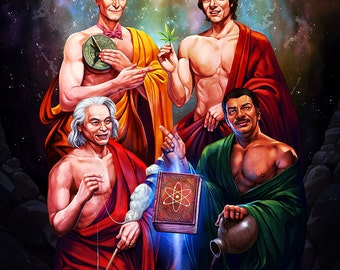 "Four Scientists Art Print - Multiple Sizes Available - ""Knowledge is Power"""