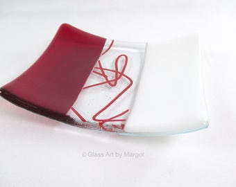 Red & White Contemporary Fused Glass Soap Dish Candle Holder Ring Trinket Dish